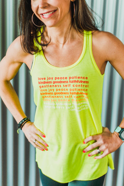 Fruits of the Spirit Yellow Flowy Tank - Cross Training Couture