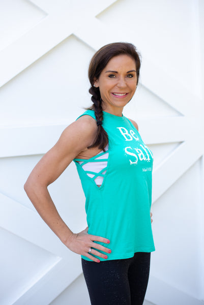 xOUT OF PRINT Be Salty Crisscross Side Tank - Cross Training Couture
