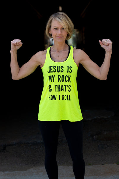 Jesus Is My Rock Neon Flowy - Cross Training Couture