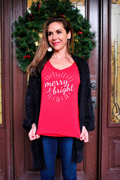Merry and Bright Red Speckled Tee