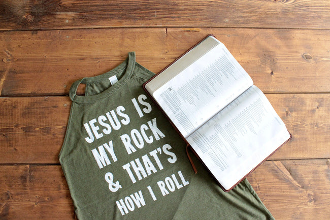 Jesus Is My Rock Rocker Tank PRE-ORDER