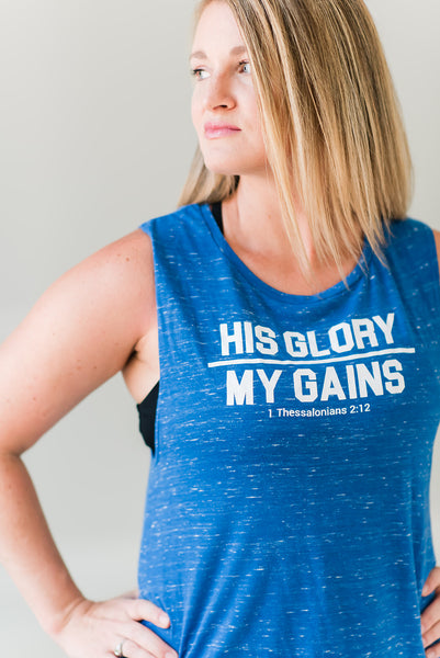 His Glory Over My Gains Muscle Tank- Blue Marble - Cross Training Couture