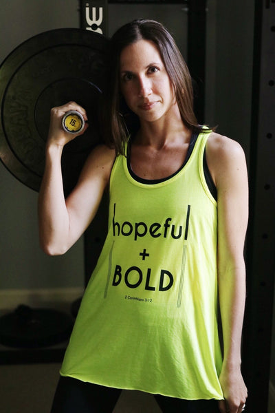 Hopeful & Bold Flowy Neon Tank - Cross Training Couture