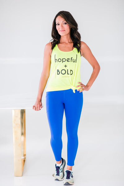 Hopeful & Bold Flowy Neon Tank