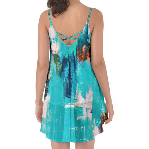 Aqua Color Splash Cover up Chiffon Dress