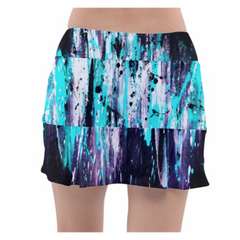 Aqua Feather Splash Tennis Skirt