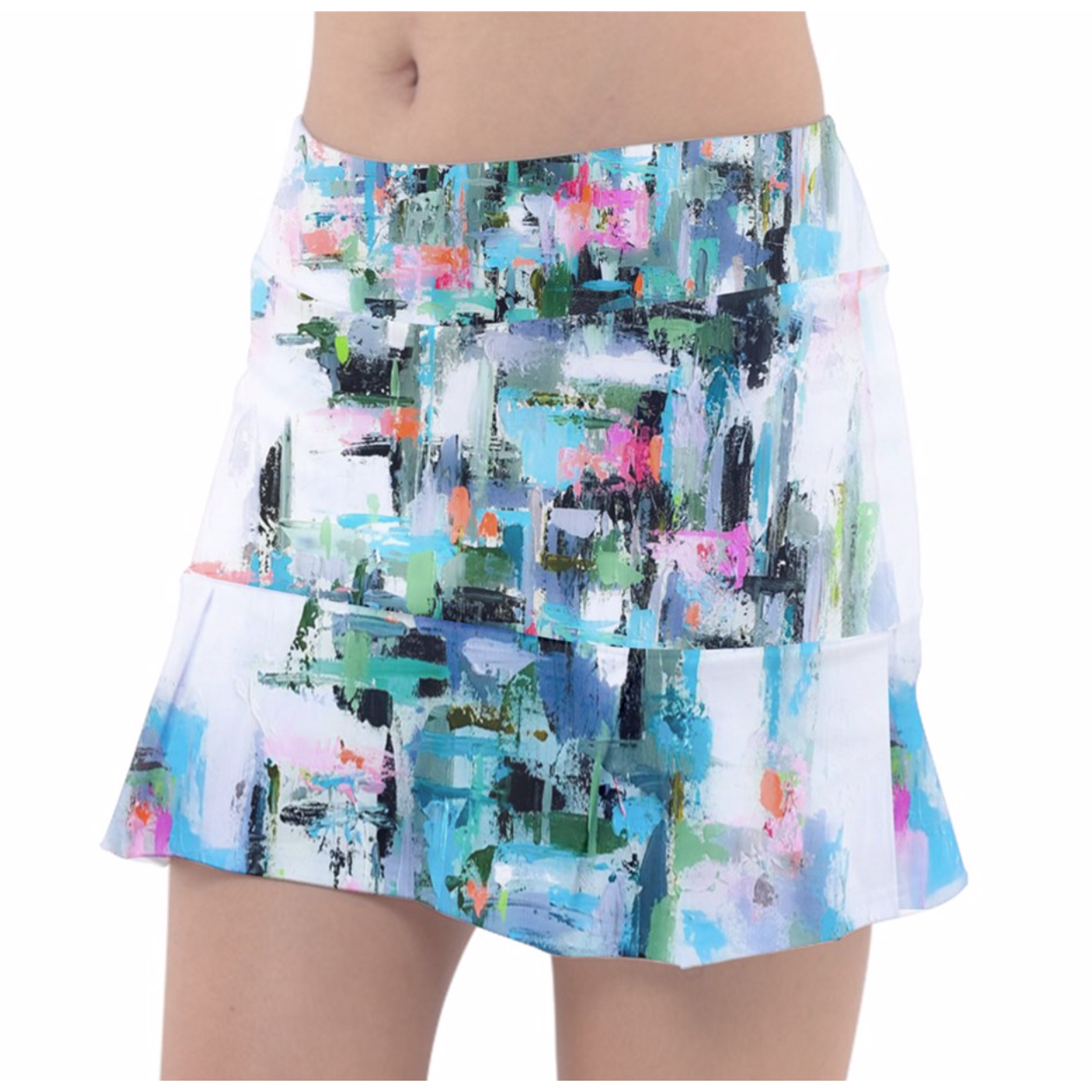 Aqua Geometric tennis Skirt