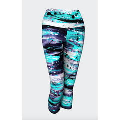 Aqua Gray Tiger Yoga Capris