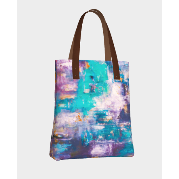 Beach Tote  - Aqua Lilac Abstract