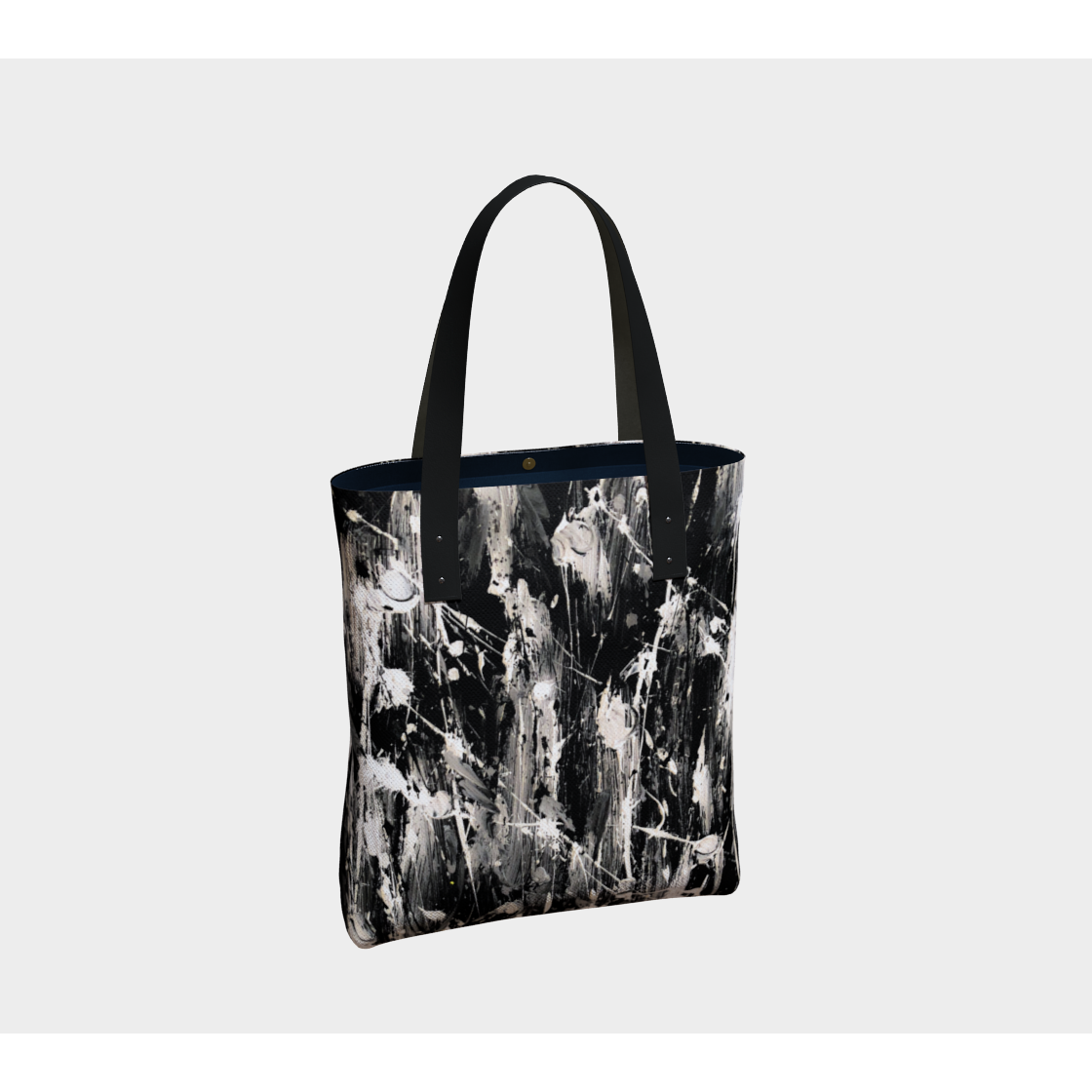 Beach Tote  - Black and White Feather Splash