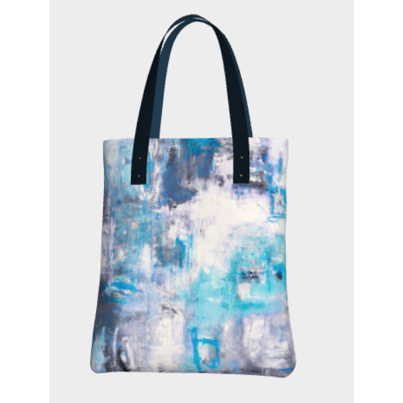 Beach Tote  - Frosty Blue Abstract