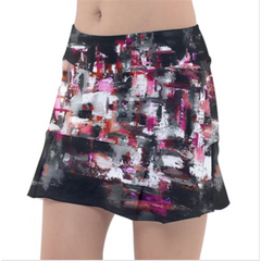 Black and Pink Geometric Tennis Skirt