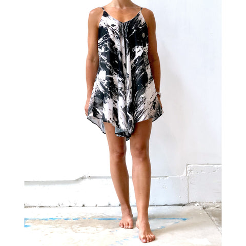 Black and White Cover up Chiffon Dress