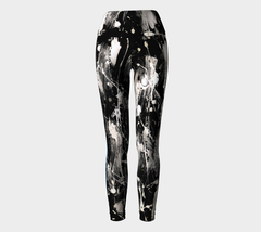 Black and White Feather Splash blue racer stripe Yoga Leggings