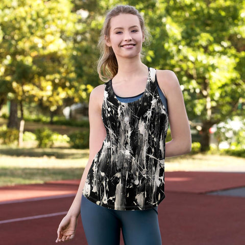 Black and White Feather Splash Women's Racerback Tank