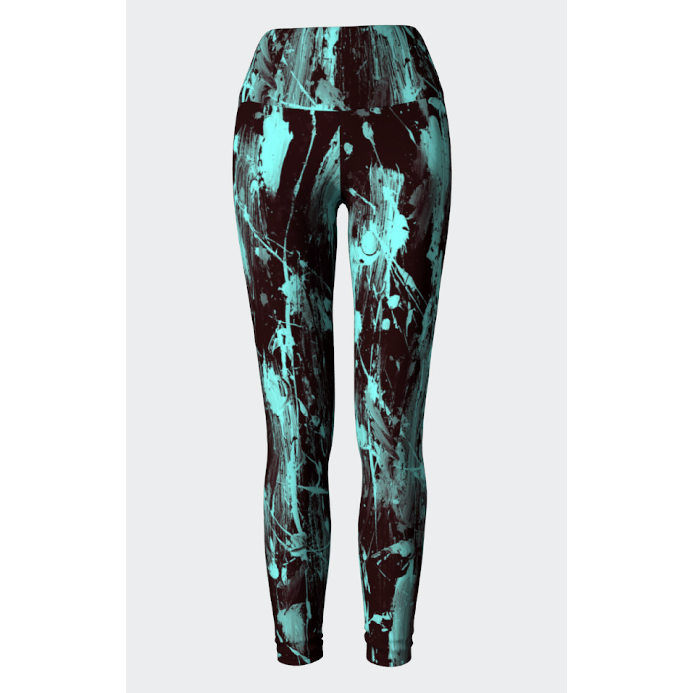 Black Aqua Feather Splash Yoga Leggings