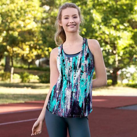 Black Aqua Purple Splash Women's Racerback Tank