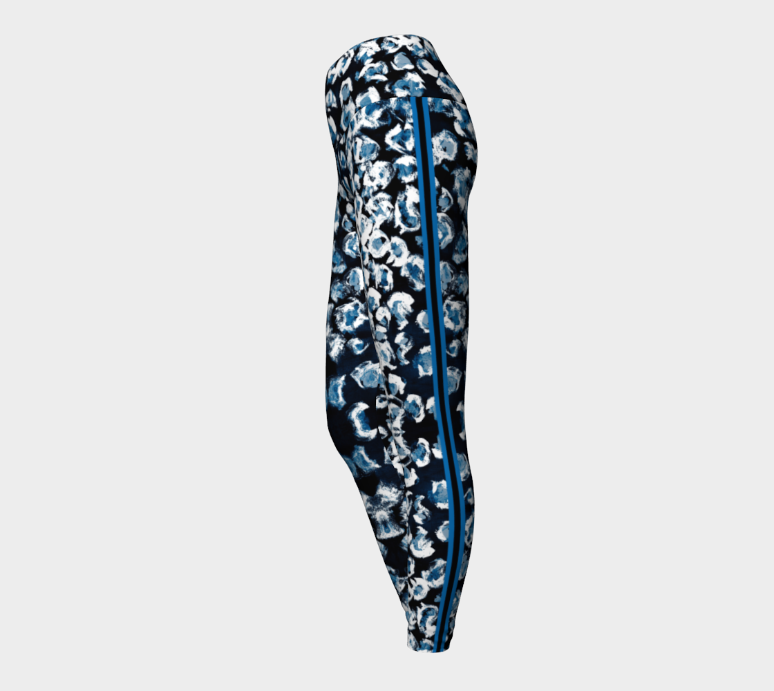 Black Blue Leopard Racer Stripe Yoga Leggings