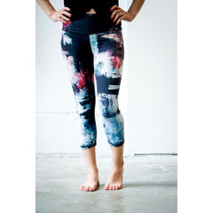 Black Denim Pink Abstract Yoga Capris