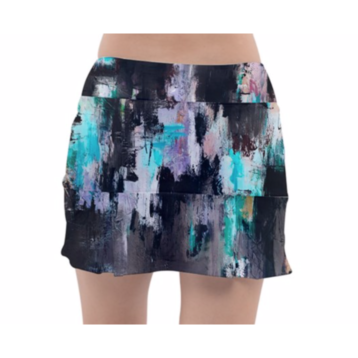 Black Lilac Aqua Tennis Skirt