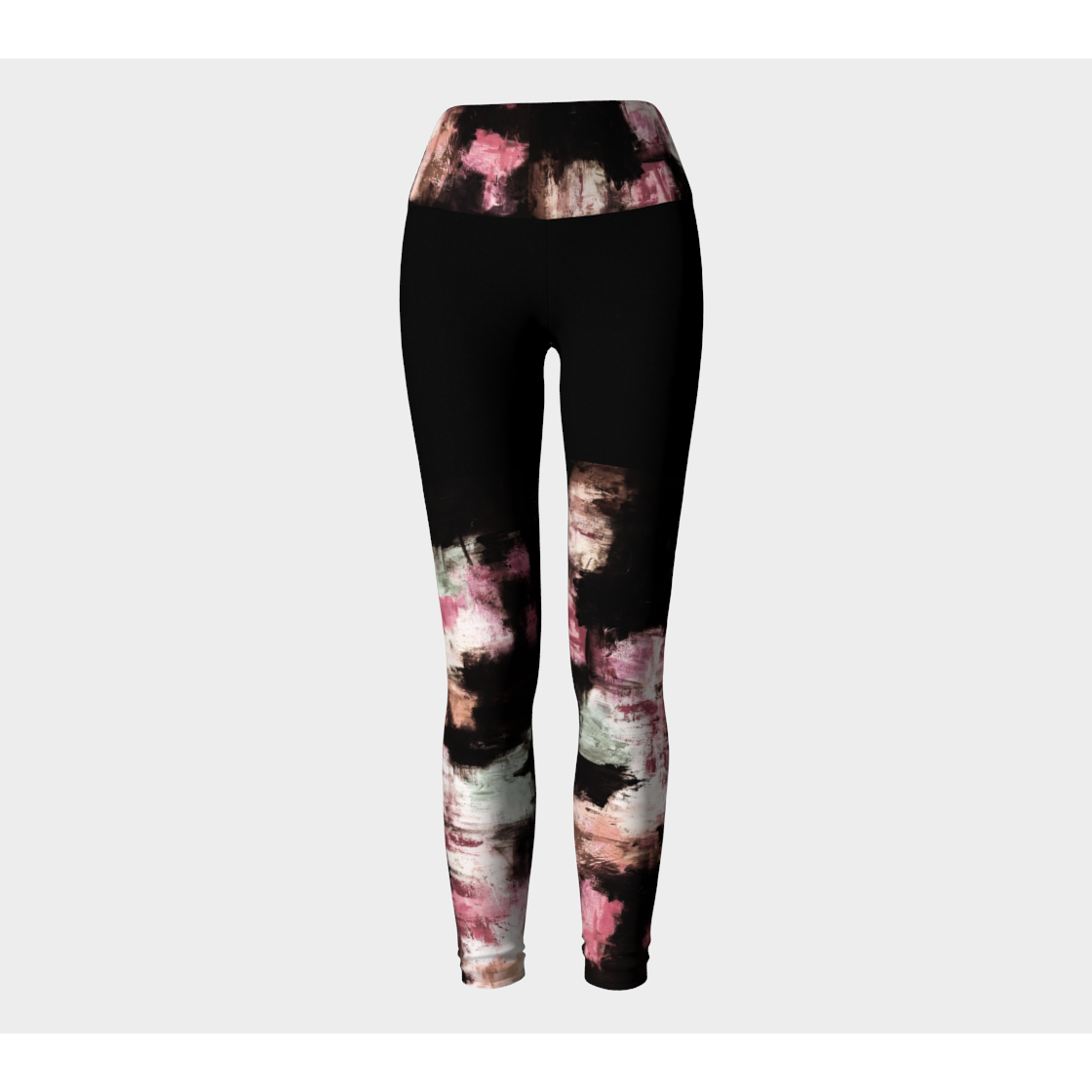 Black Muted Pink Ankle Yoga Leggings
