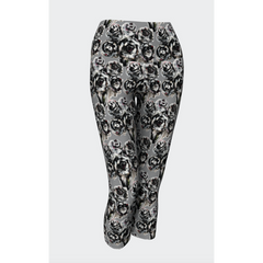 Black on Gray Rose Yoga Capris
