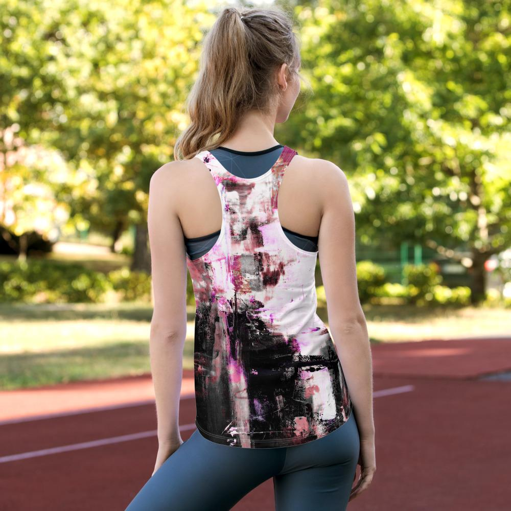 Black Pink Abstract Women's Racerback Tank