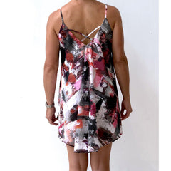 Black Pink Cover up Chiffon Dress