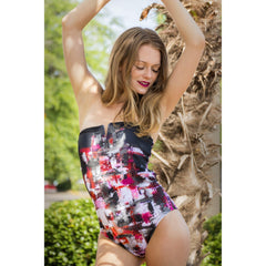 Black Pink Geometric One Piece
