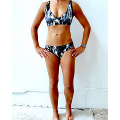 Black White Feather Splash Bikini
