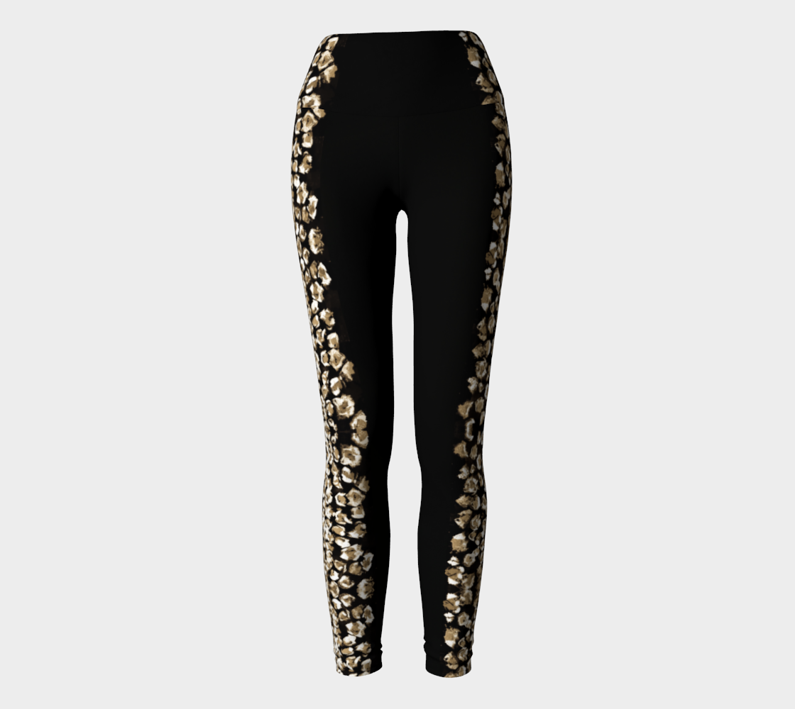 Black with Cream Leopard Side Stripe Yoga Leggings