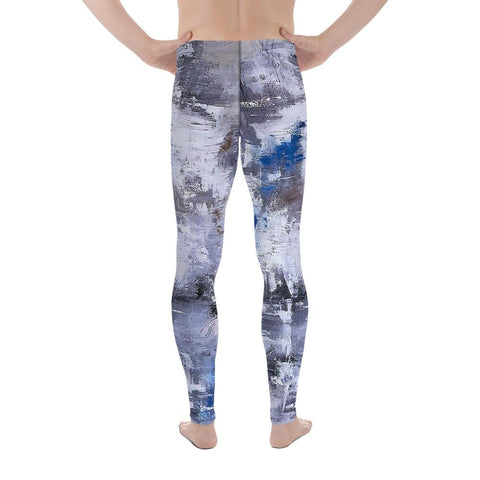 Blue Denim Abstract Men's Athletic Bottoms