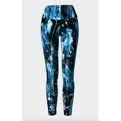Blue Denim Feather Splash Yoga Leggings