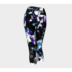Blue Floral Splash Yoga Capris