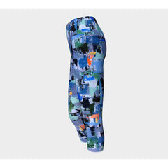 Blue Geometric Yoga Capris