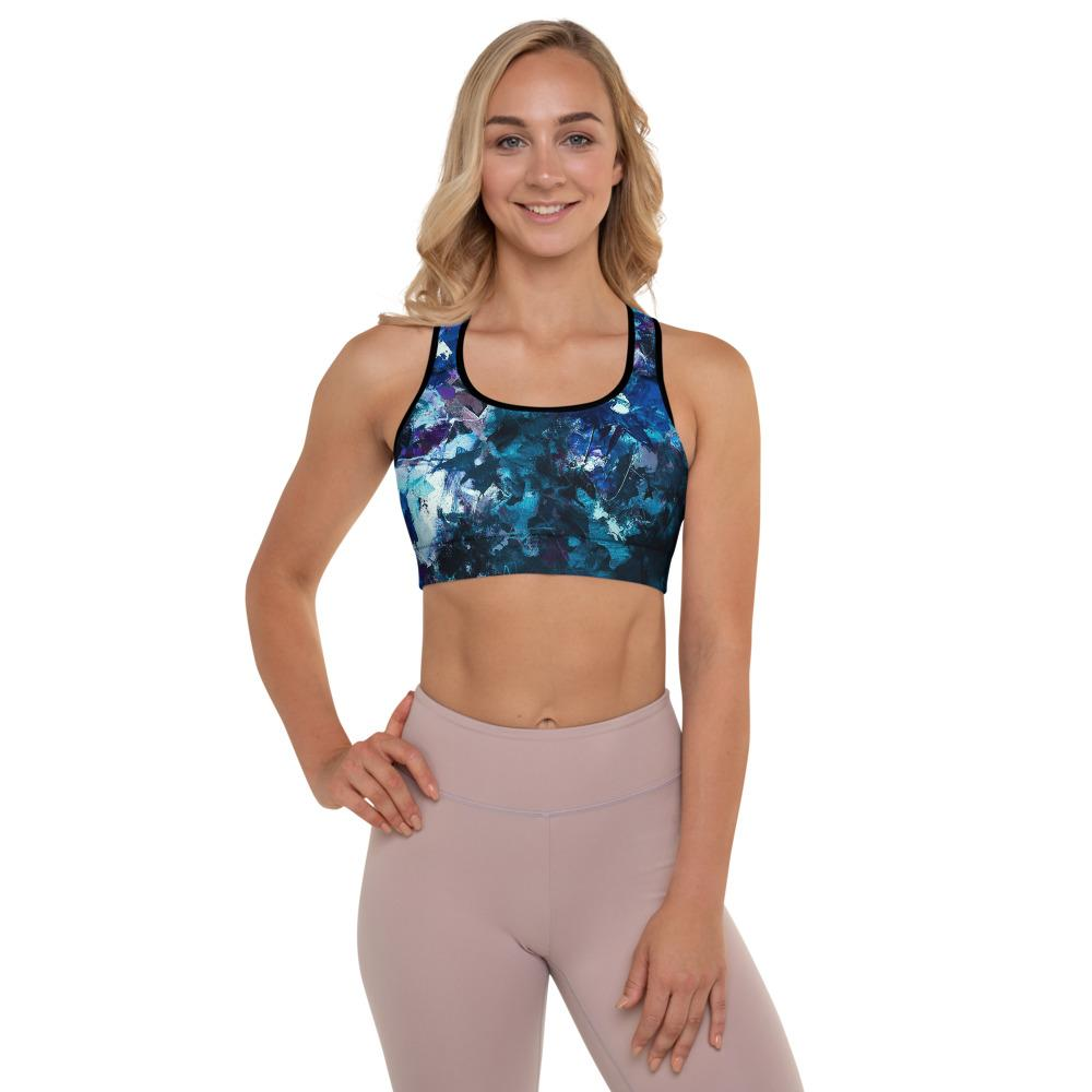 Blue Graffiti Floral Bra Top