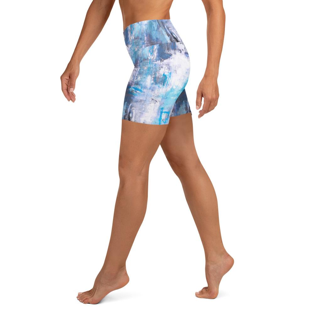 Blue Gray Frost Yoga Shorts
