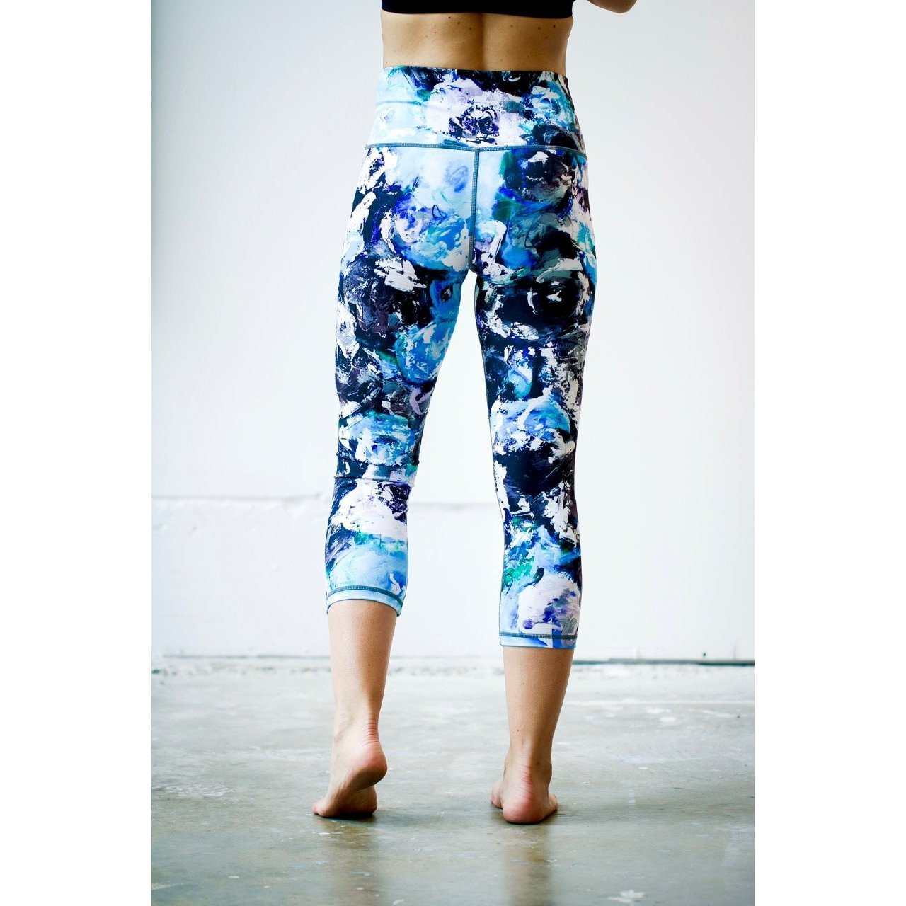 Blue Gray Rose Yoga Capris