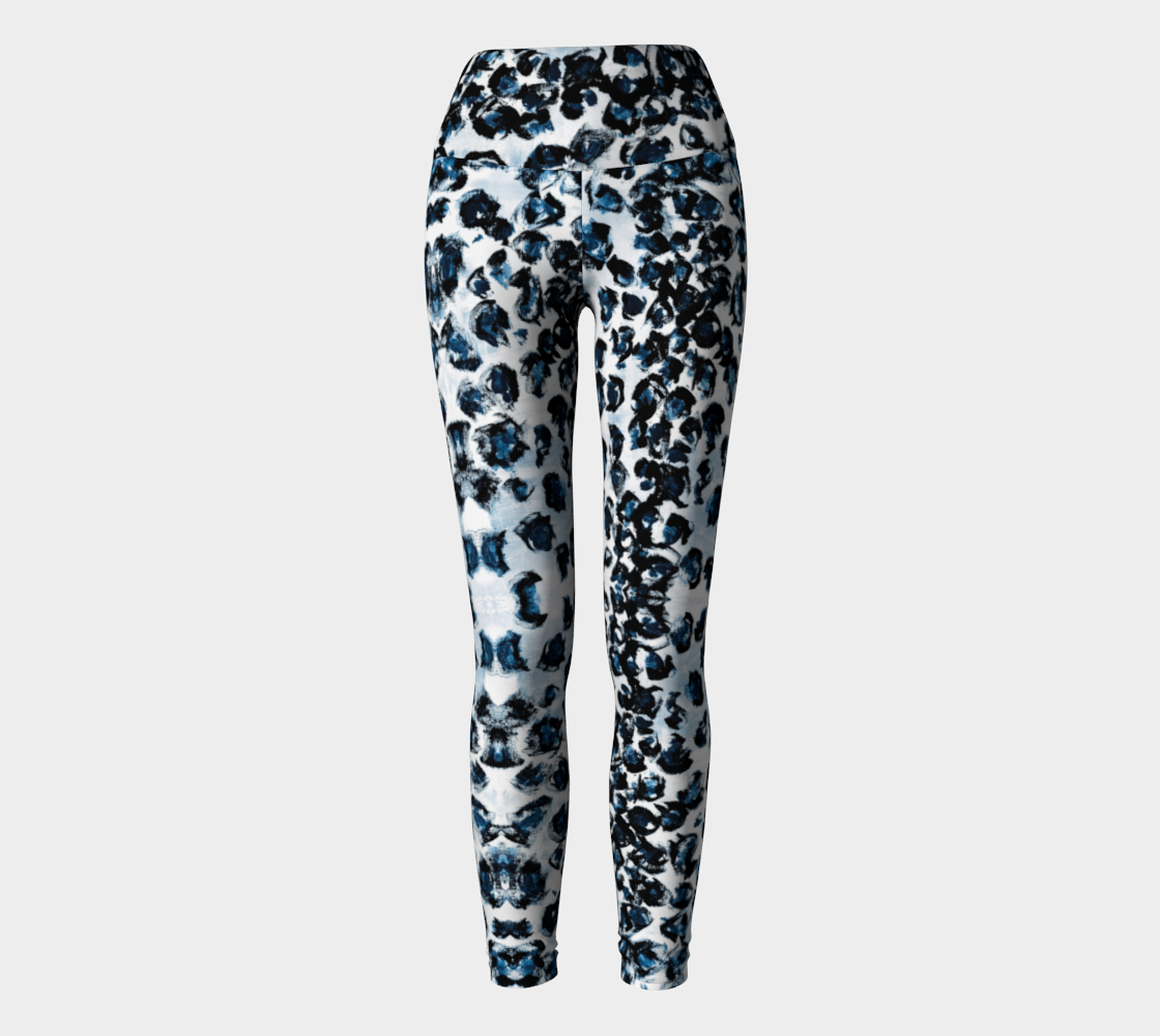 Blue Leopard Yoga Leggings