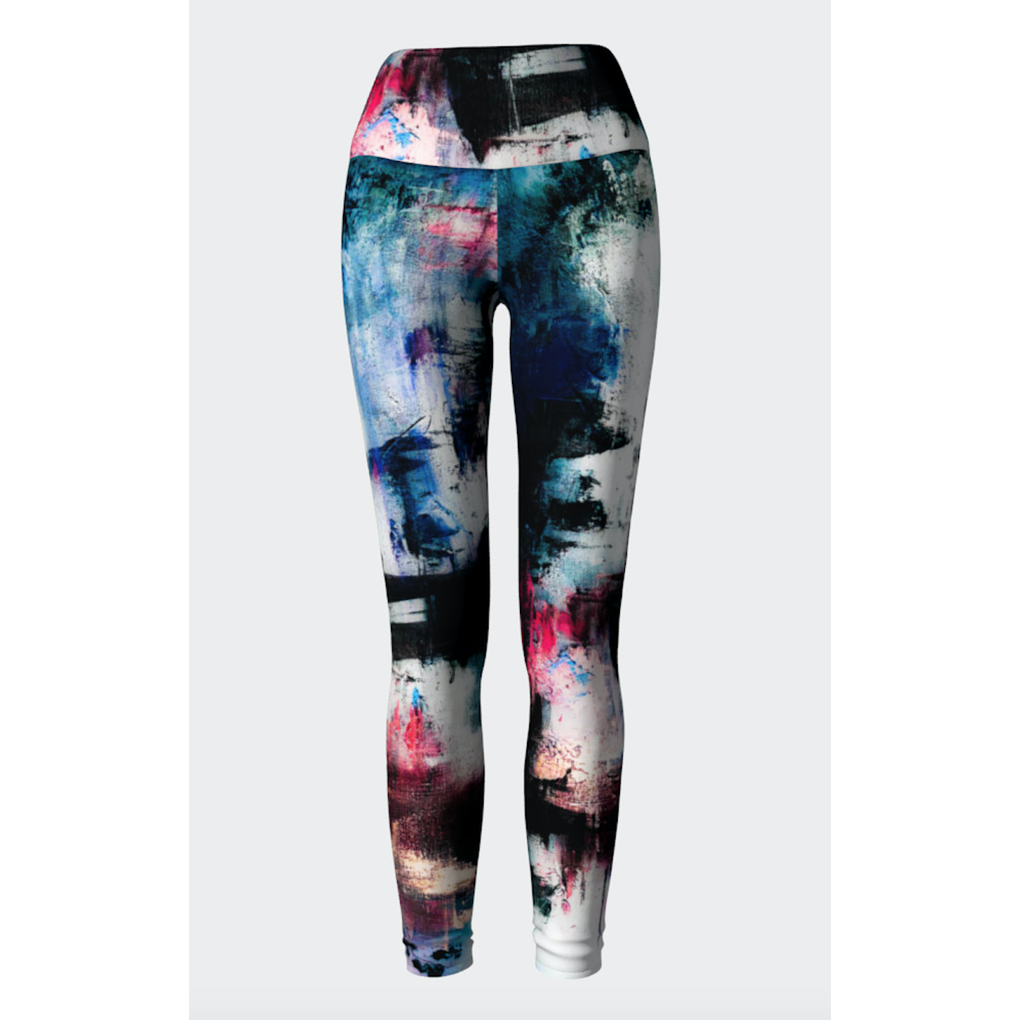 Blue Pink Abstract Yoga Leggings