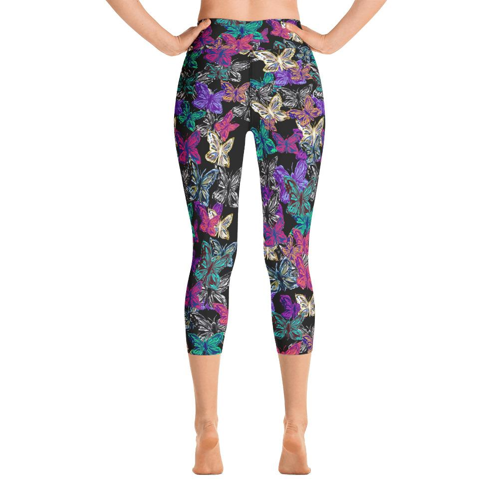 Bright Butterfly Yoga Capri Leggings