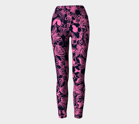 Butterfly Ink Pink Breast Cancer Awareness Yoga Leggings