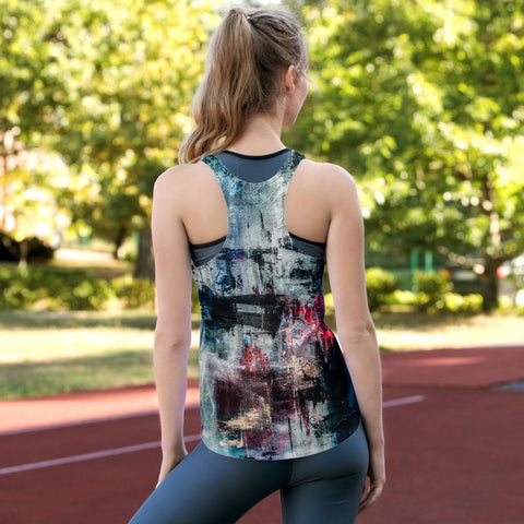 Denim pink splash Women's Racerback Tank