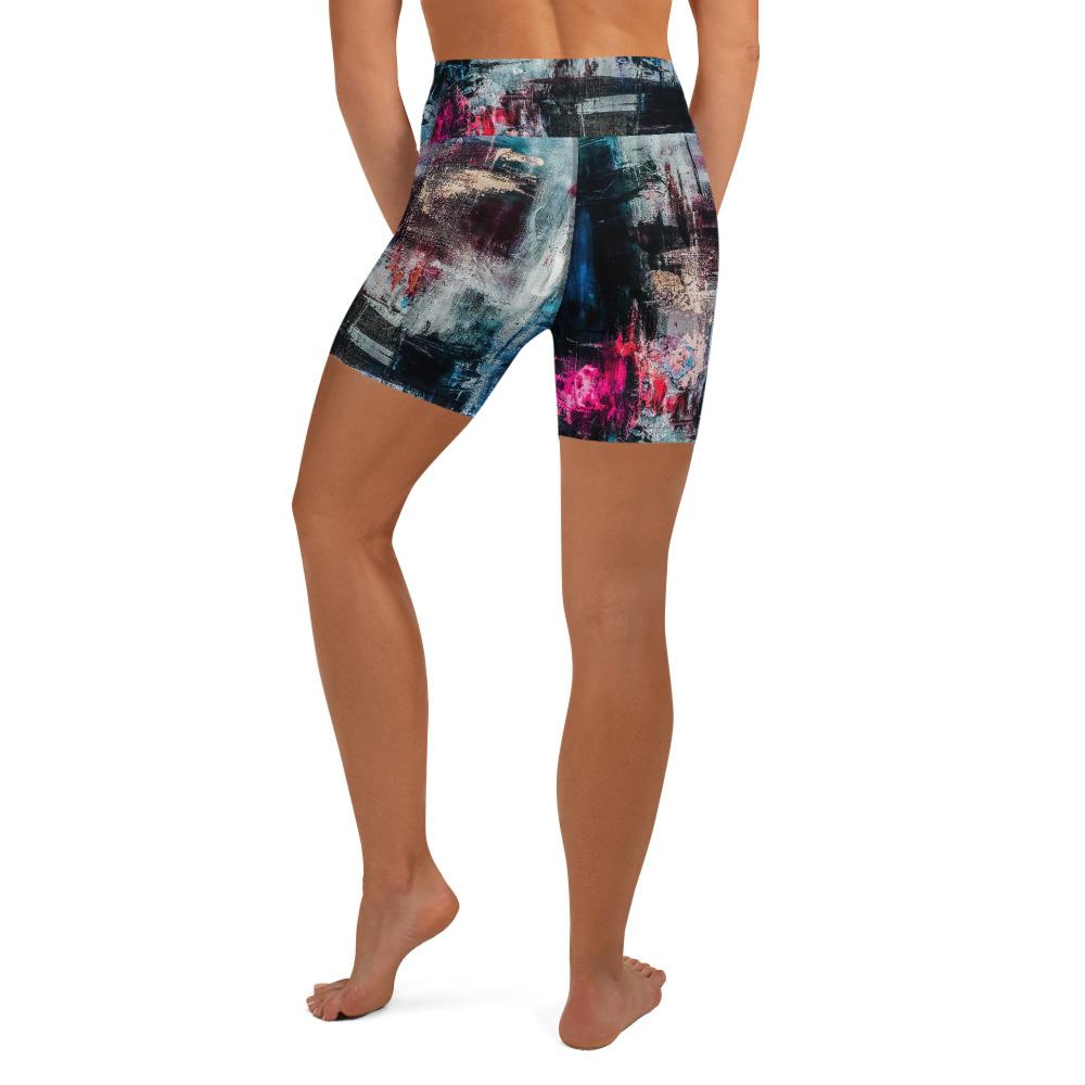 denim pink splash Yoga Shorts
