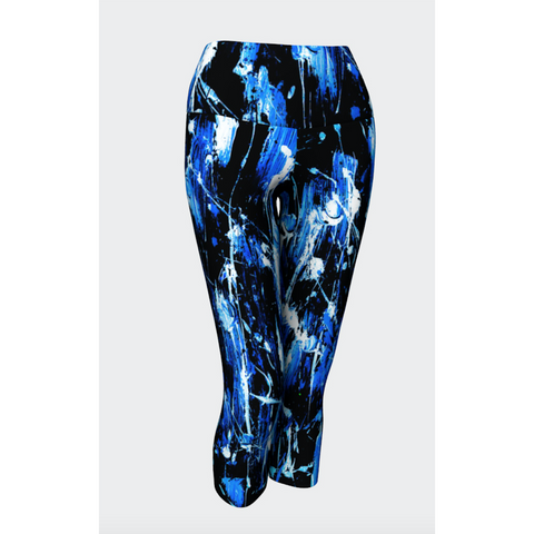 Feather Splash Blue Denim Yoga Capris