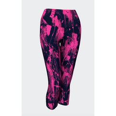Feather Splash Bright Pink Yoga Capris