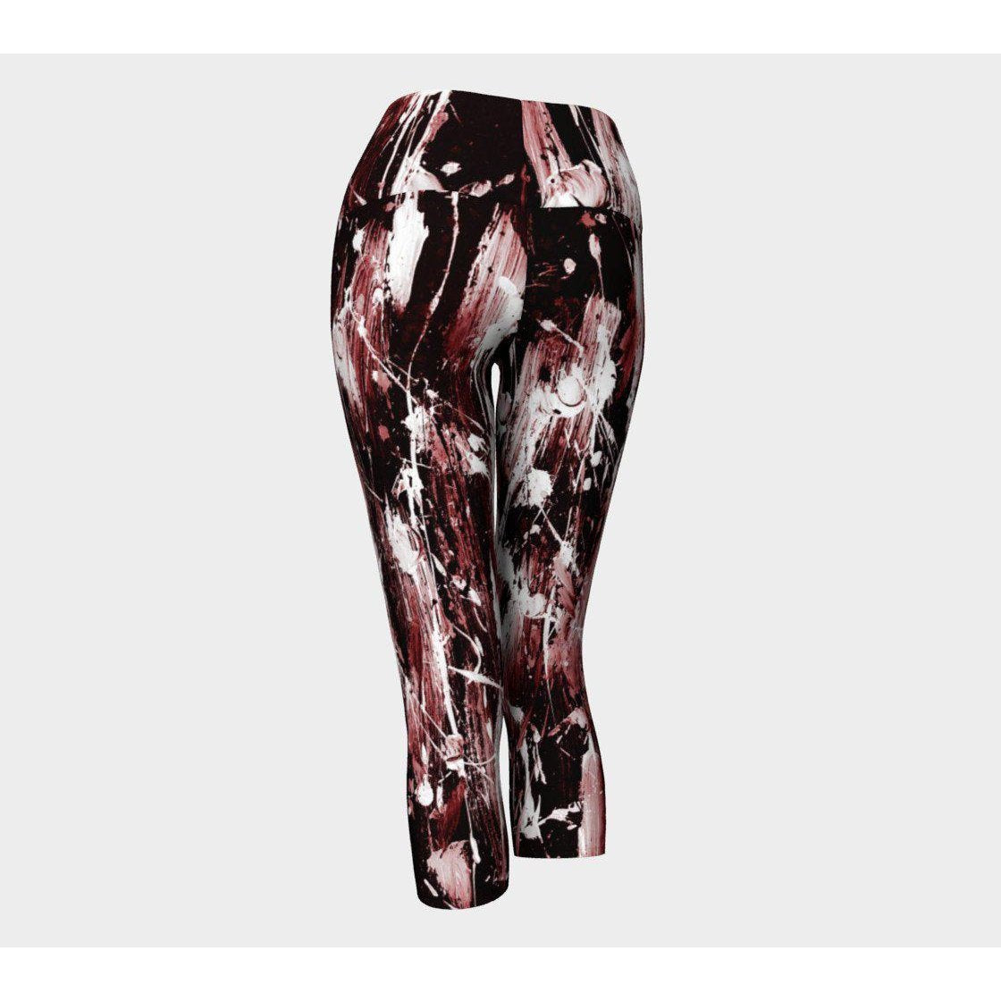 Feather Splash Red Tint Yoga Capris