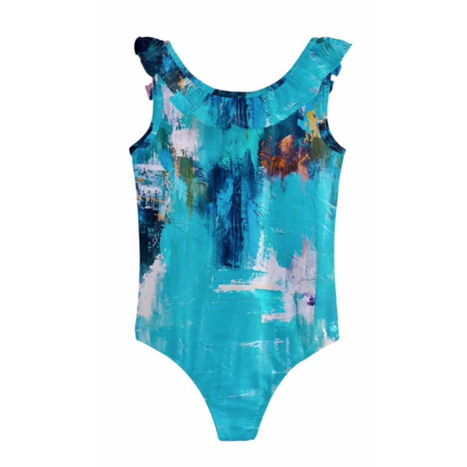Girls Aqua Color Splash Swimsuit