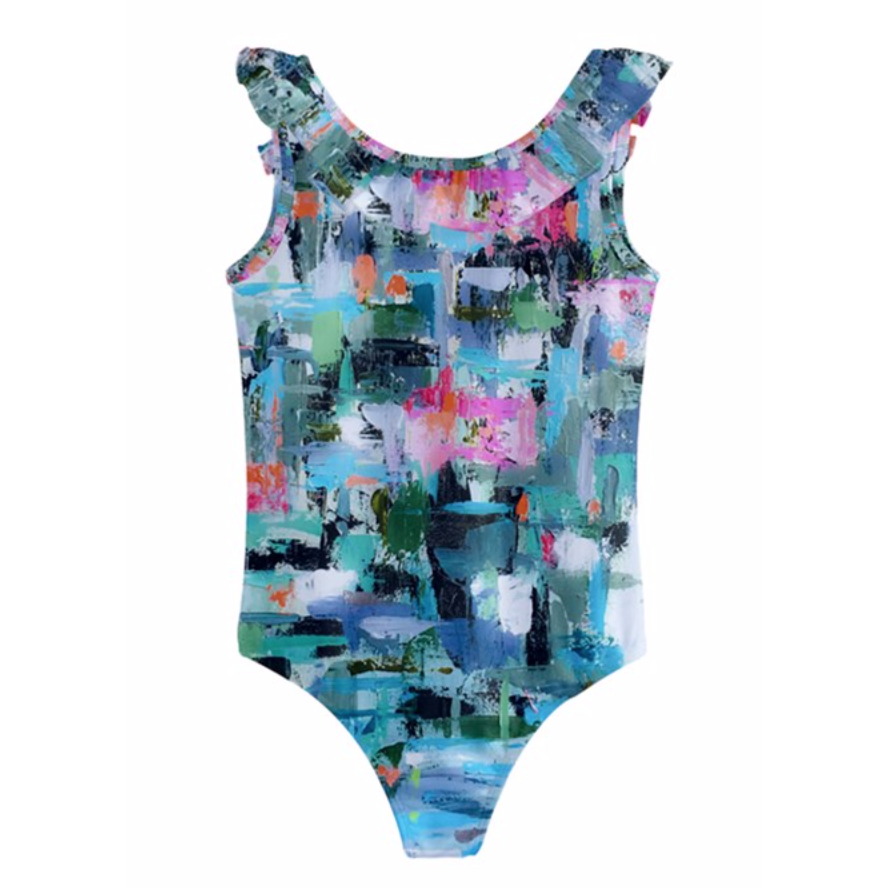 Girls Aqua Geometric Swimsuit