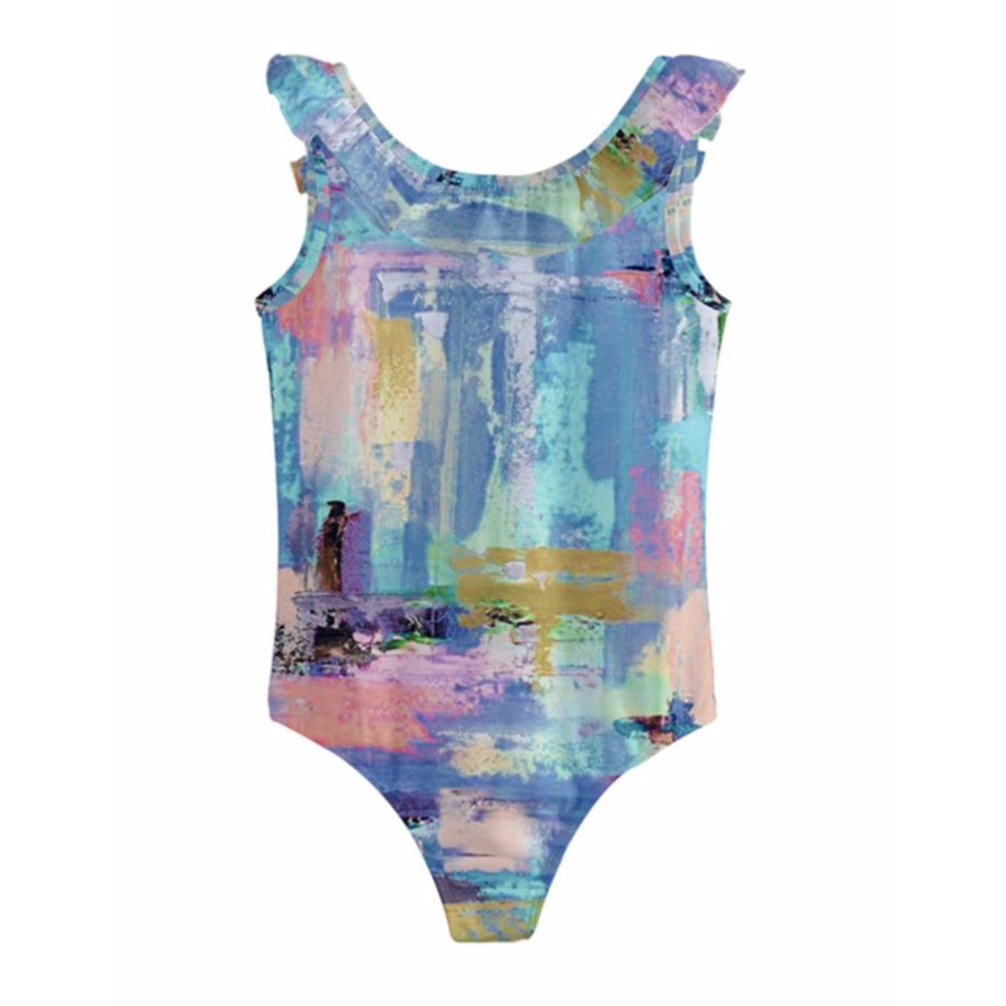 Girls Aqua Lilac Swimsuit
